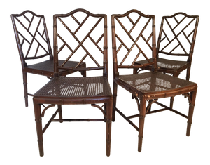 Chinese Chippendale Faux Bamboo Dining Chairs