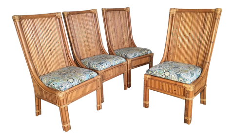 Set of Four Stacked Rattan High Back Dining Chairs