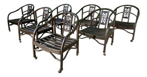 Set of Seven Asian Chinoiserie Game Table Chairs