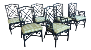 Set of Six Bamboo Chinoiserie Dining Chairs in High Gloss Navy