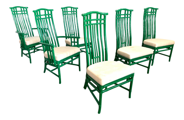Set of Six Bamboo Pagoda Dining Chairs by McGuire