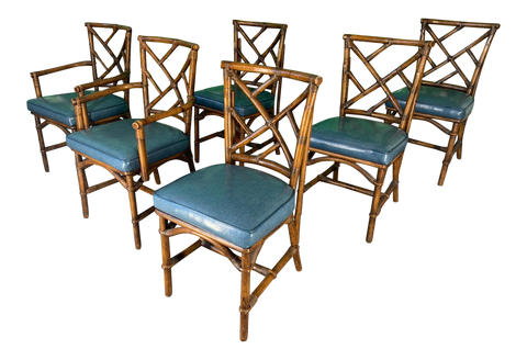 Set of Six Chinese Chippendale Bamboo Dining Chairs