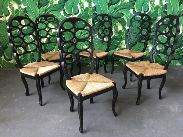 Loop Back Dining Chairs in the Manner of Frances Elkins