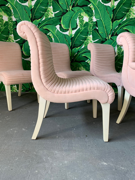 Set of Six Sculptural Pink Tufted Dining Chairs side view
