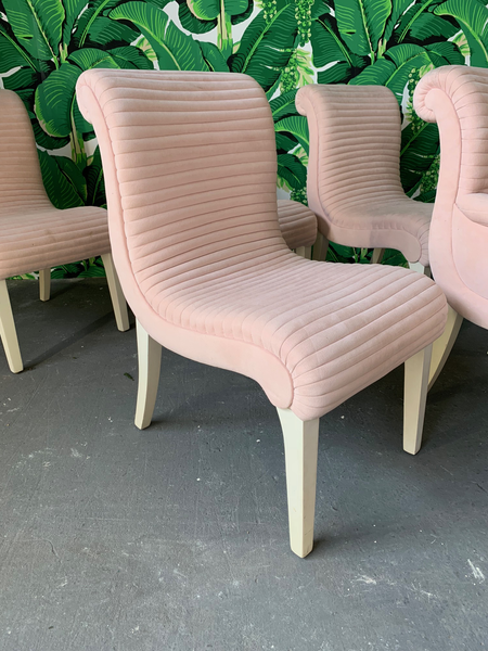 Set of Six Sculptural Pink Tufted Dining Chairs front view