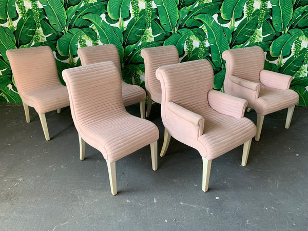 Sculptural Pink Tufted Dining Chairs