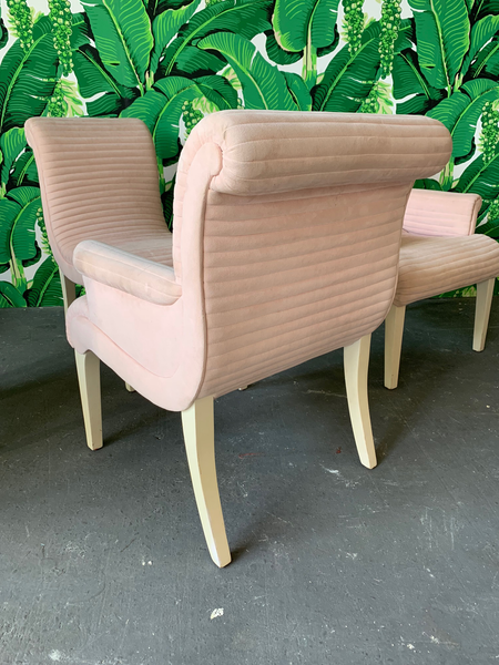 Set of Six Sculptural Pink Tufted Dining Chairs rear view