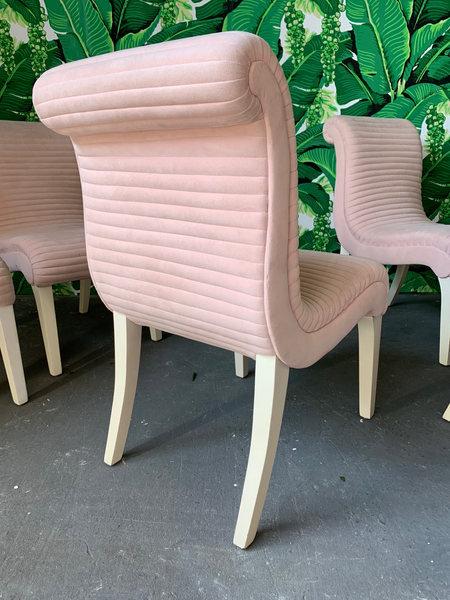 Set of Six Sculptural Pink Channel Back Tufted Dining Chairs