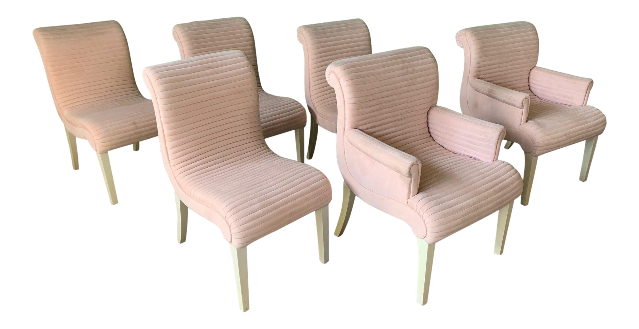 Set of Six Sculptural Pink Tufted Dining Chairs