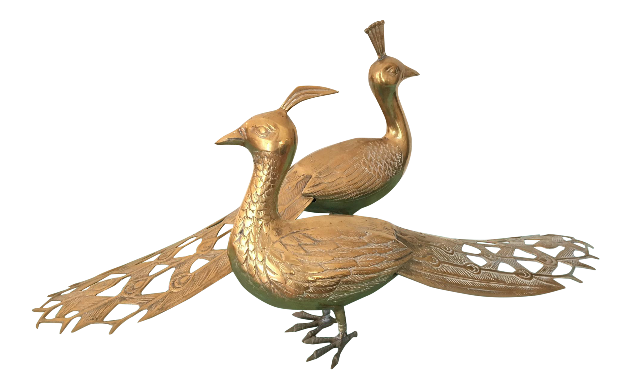 Solid Brass Male and Female Peacock Statues
