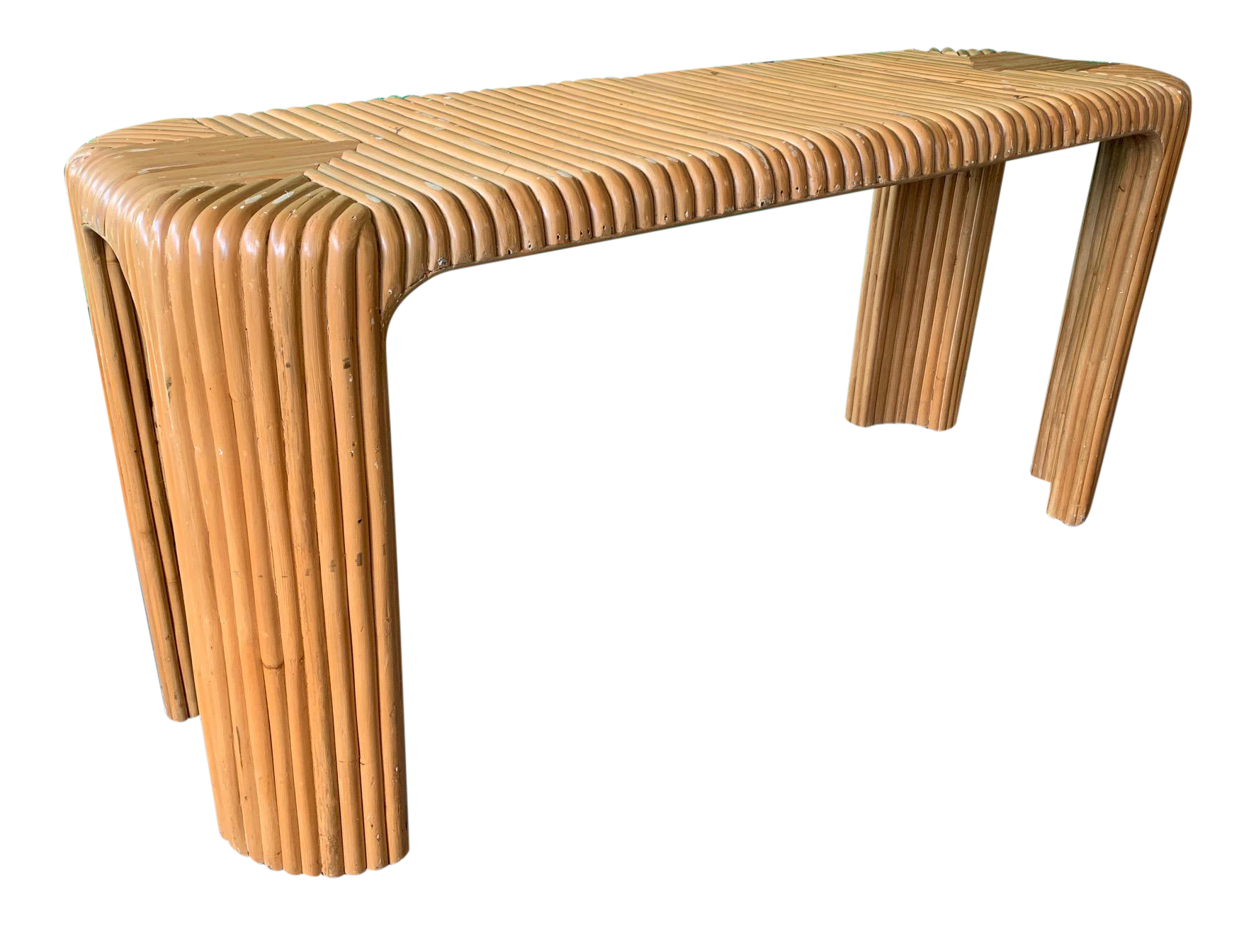 Split Pencil Reed Bamboo Console Table