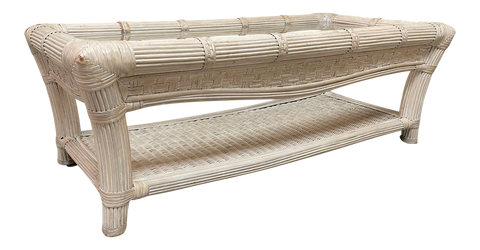 Split Reed Rattan and Wicker Coffee Table