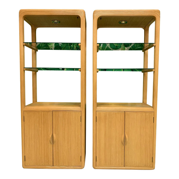 Split Reed Rattan Bookcases in the Manner of Gabriella Crespi