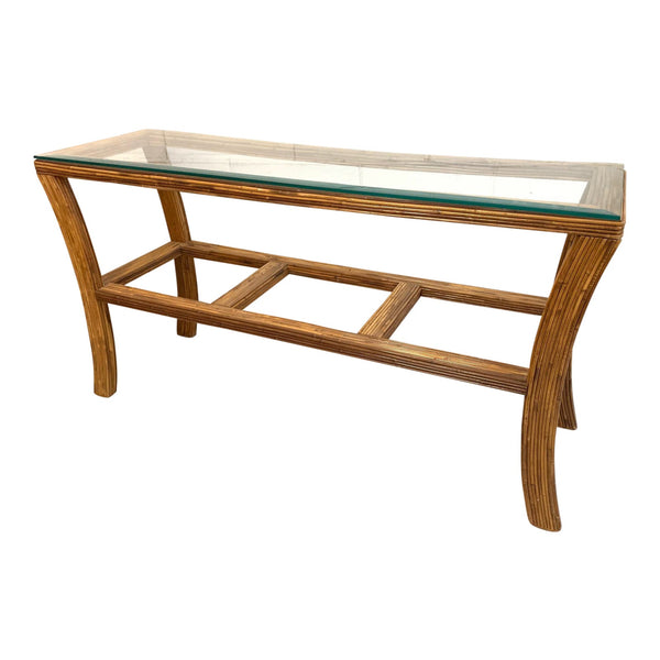 Split Reed Rattan Console Table