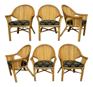 Split Reed Rattan Dining Chairs, Set of 6
