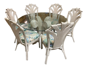 Split Reed Rattan Dining Set in the Manner of Betty Cobonpue