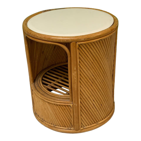 Split Reed Rattan Drum End Table in the Manner of Gabriella Crespi