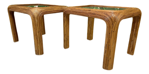 Split Reed Rattan End/Side Tables, a Pair