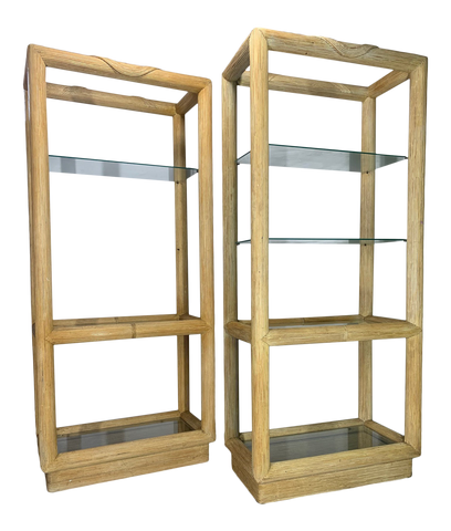 Split Reed Rattan Etageres in the Style of Gabriella Crespi