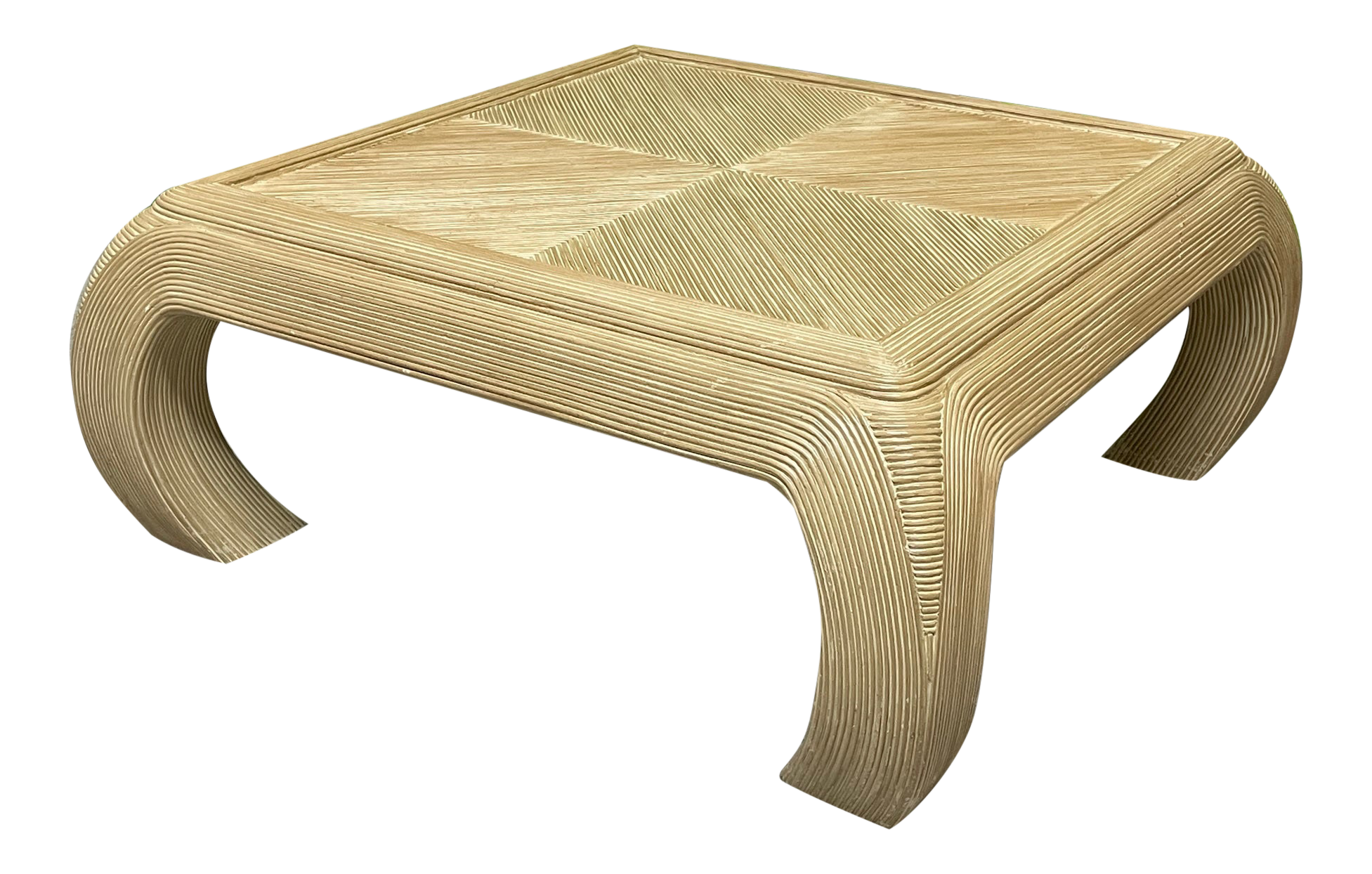 Split Reed Rattan Ming Asian Coffee Table in the Style of Gabriella Crespi