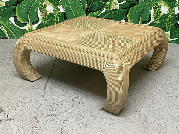 Split Reed Rattan Ming Asian Coffee Table in the Style of Gabriella Crespi front view