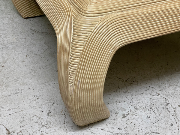 Split Reed Rattan Ming Asian Coffee Table in the Style of Gabriella Crespi close up