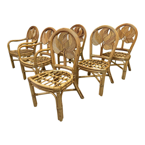 Split Reed Rattan Palm Tree Back Dining Chairs, Set of 6
