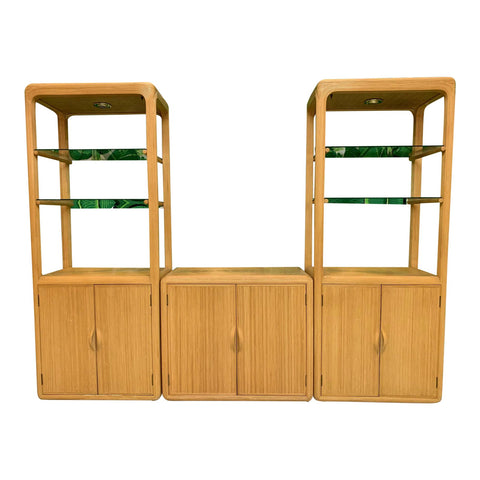 Split Reed Rattan Wall Unit in the Manner of Gabriella Crespi