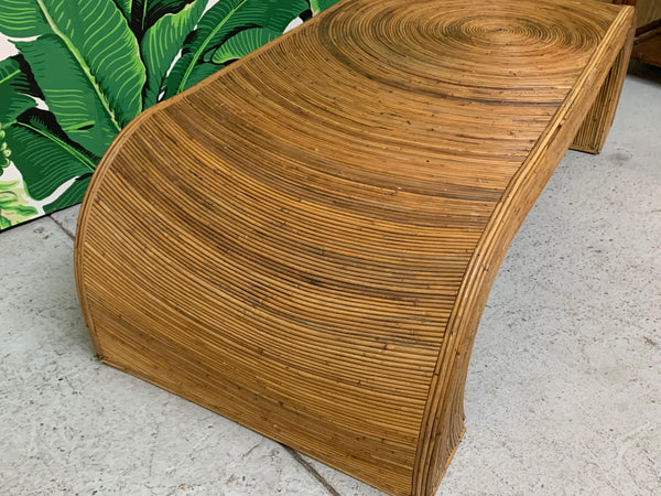 Split Reed Rattan Waterfall Coffee Table in the Manner of Gabriella Crespi side view