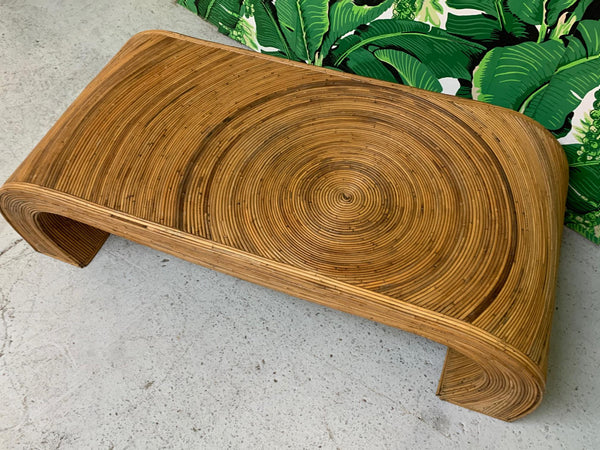 Split Reed Rattan Waterfall Coffee Table in the Manner of Gabriella Crespi top view