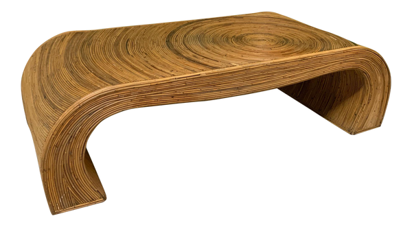 Split Reed Rattan Waterfall Coffee Table in the Manner of Gabriella Crespi