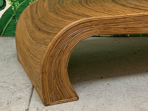 Split Reed Rattan Waterfall Coffee Table in the Manner of Gabriella Crespi close up