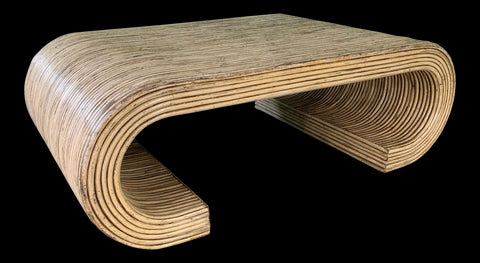 Split Reed Rattan Wrapped Scroll Coffee Table in the Style of Crespi