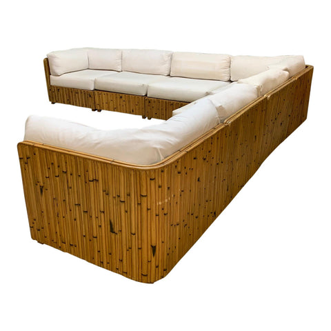 Split Reed Rattan Wrapped Sectional Sofa
