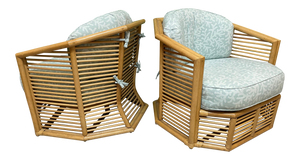 Stacked Rattan Albini Style Sculptural Club Chairs
