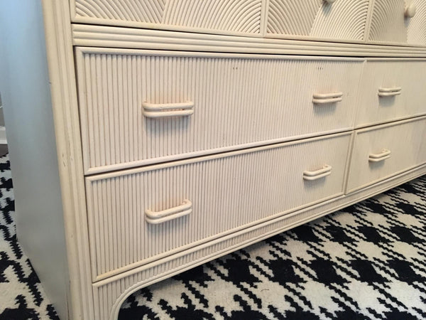 Stanley 10-Drawer Pencil Reed Rattan Tiered Dresser with Mirror details
