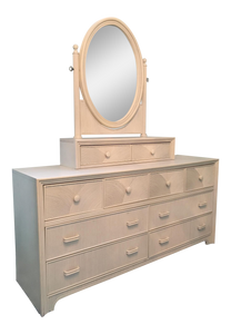 Stanley 10-Drawer Pencil Reed Rattan Tiered Dresser with Mirror