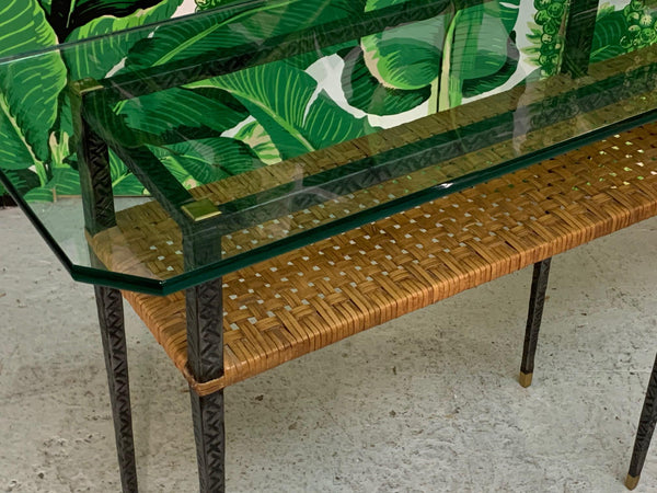 Steel and Rattan Console Table top view