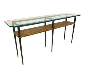 Steel and Rattan Console Table