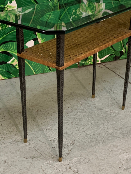 Steel and Rattan Console Table side view