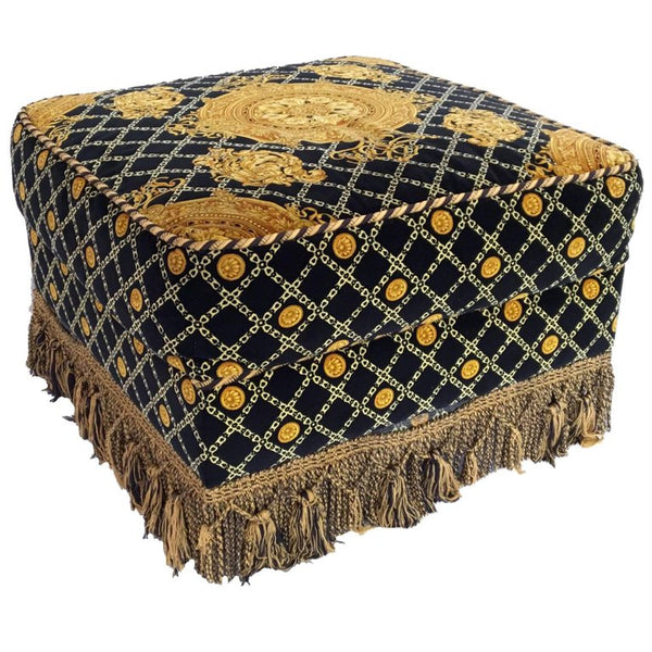Stefano Giovanni Versace Style Upholstered Ottoman
