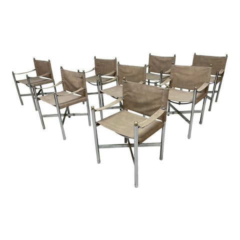 Suede Dining Chairs in the Manner of Maison Jansen