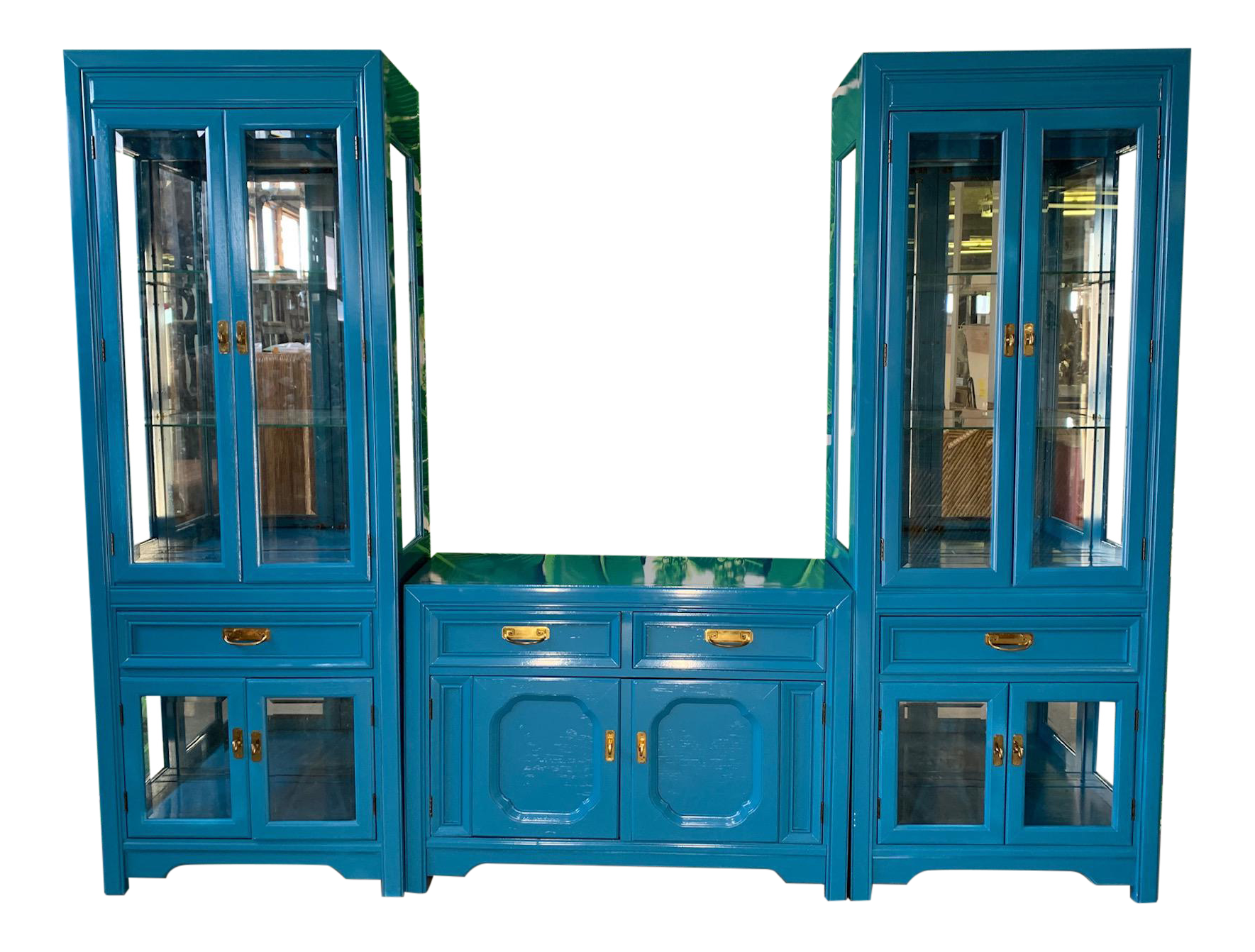 Thomasville Display Cabinets and Buffet in Blue Lacquer