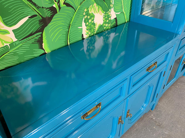 Thomasville Sideboard Cabinet in Blue Lacquer top view