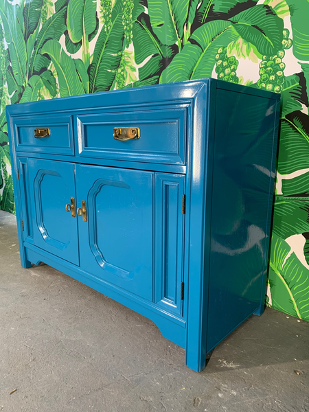 Thomasville Sideboard Cabinet in Blue Lacquer