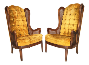 Pair of Tufted Velvet Cane Wingback Chairs by Lewittes