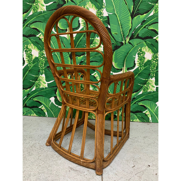 Twisted Rattan High Back Dining Chairs, Set of 4 rear view