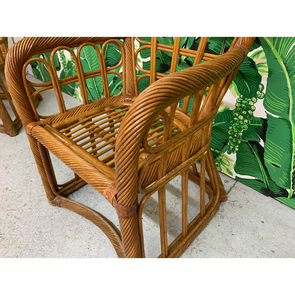 Twisted Rattan High Back Dining Chairs, Set of 4 close up