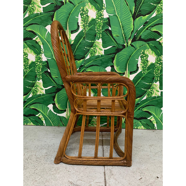 Twisted Rattan High Back Dining Chairs, Set of 4 side view
