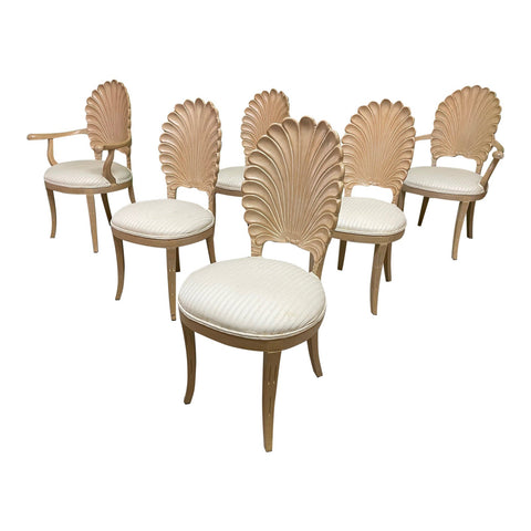 Venetian Grotto Style Shell Back Dining Chairs, Set of 6